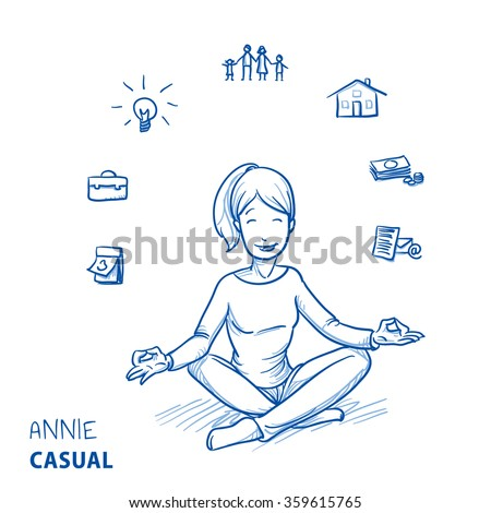 Happy young woman in casual clothes sitting in yoga pose with icons of easily organizing life, business and family around her. Hand drawn line art cartoon vector illustration. - stock vector