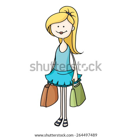 Happy young women with shopping bags. Cute cartoon blonde woman in blue dress. Hand-drawn vector illustration. - stock vector