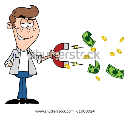 Happy Youth Using A Magnet To Attracts Money - stock vector