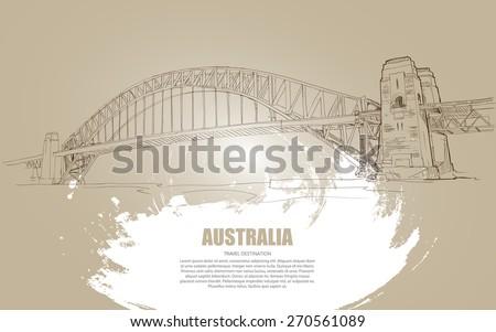Harbour bridge Hand Drawn. Travel Concept. Vector Illustration - stock vector