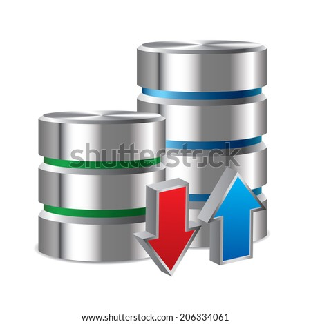 Hard disc upload and download - stock vector