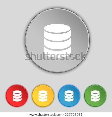 Hard disk and database sign icon. flash drive stick symbol. Set colourful buttons. Vector illustration - stock vector