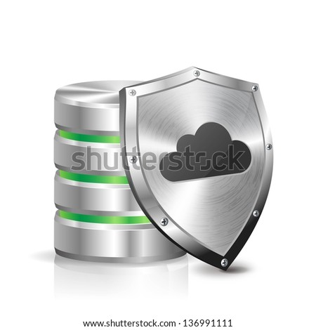 Hard disk and metal shield - stock vector