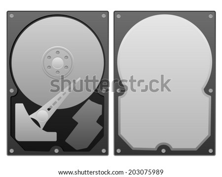 Hard disk on a white background.