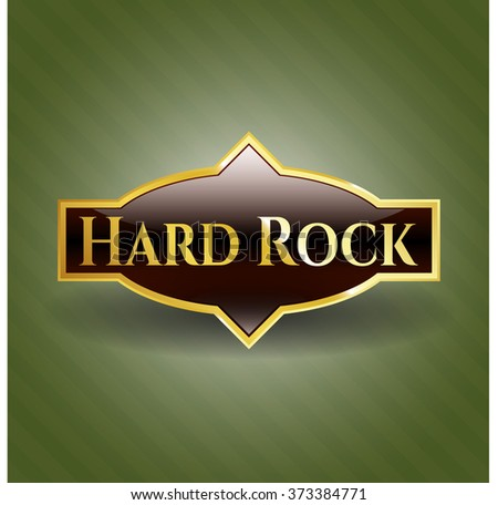 Hard Rock gold badge or emblem - stock vector