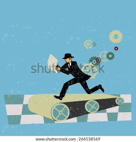 Hard to keep up in business  - stock vector
