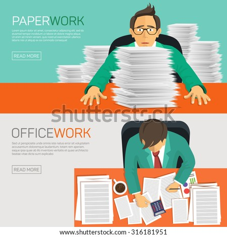 Hard work, businessman accounting at the office, vector illustration. - stock vector