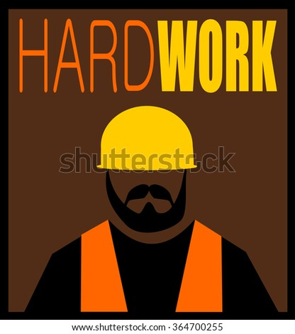 hard work design with construction worker with beard