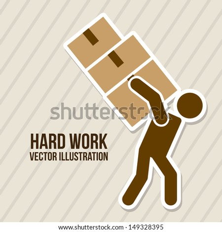 hard work over lineal background vector illustration  - stock vector