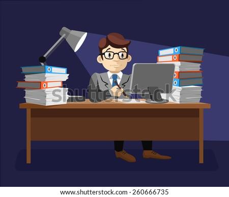 Hard work. Vector flat illustration - stock vector