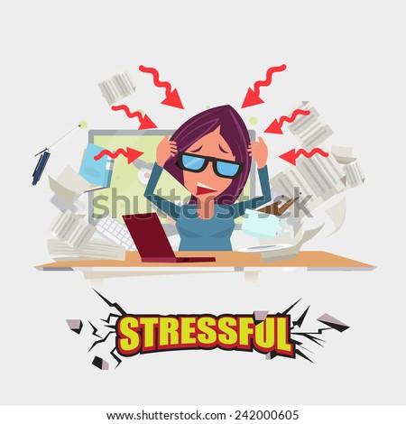 hard working women. stressful concept - vector illustration - stock vector