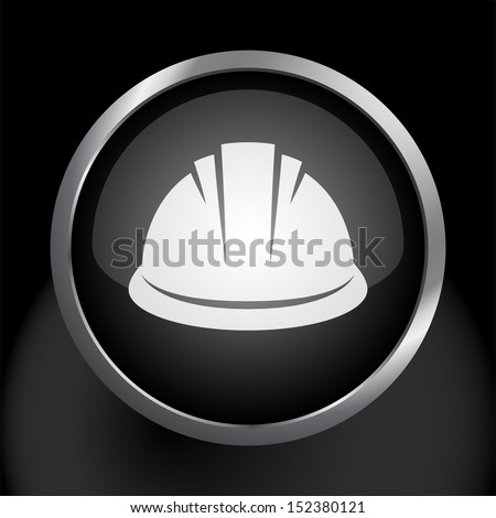 Hardhat Icon Vector Glass Icon - stock vector