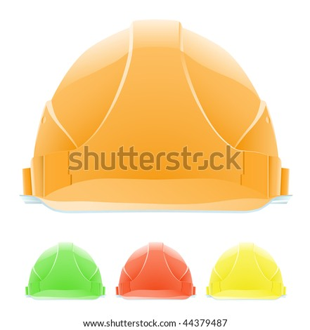 Hardhat in Different Colours. The front view. Vector illustration. Gradient only. No mesh. It is organised on levels.Serie of images - stock vector
