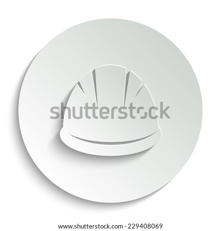 Hardhat- vector icon with shadow on a round button - stock vector