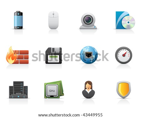 Hardware and software icons - stock vector
