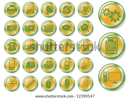 hardware orange buttons art series - stock vector