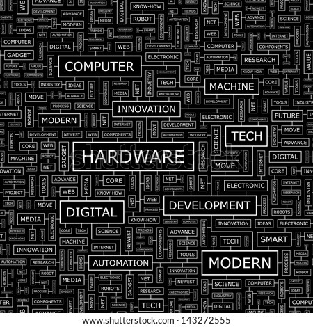HARDWARE. Word cloud concept illustration.  - stock vector