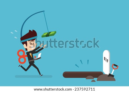 Hardworking businessman flat design cartoon - stock vector