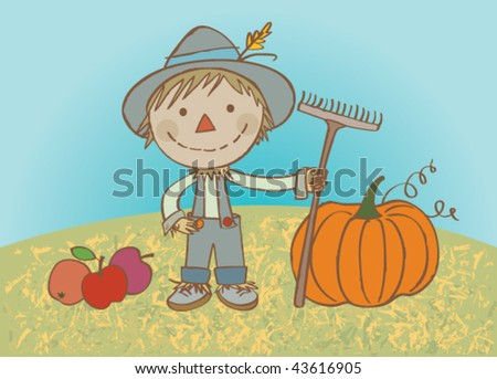 Hardworking scarecrow. Vector illustration of a nice scarecrow helping with the crop. - stock vector