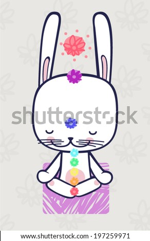 Hare sits in the lotus position and meditates. - stock vector