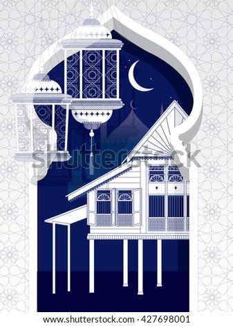 hari raya arch template vector/illustration - stock vector