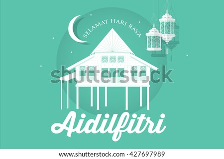 hari raya kampung house which means village house template with malay words that means happy eid vector/illustration - stock vector