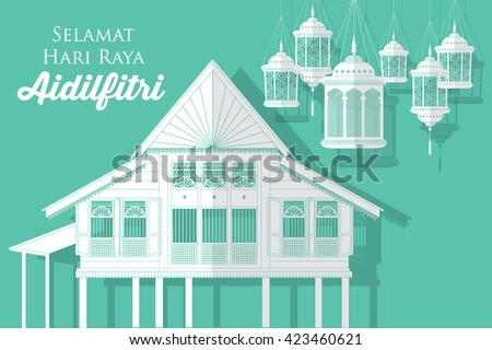 hari raya village house/kampung vector/illustration with malay words that means happy eid - stock vector