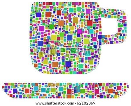 Harlequin cup of coffee. A number of 2085 squares are inserted into the mosaic.