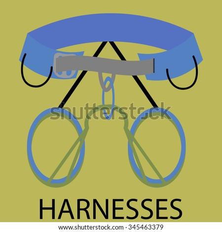 Harnesses for climbing icon. Equipment safety, sport and adventure, outdoor extreme. Vector art design abstract unusual fashion illustration - stock vector