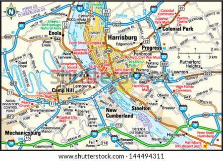 Harrisburg Pennsylvania Area Map Stock Vector HD Royalty Free