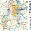 Hartford, Connecticut area map - stock vector