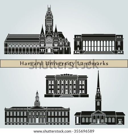Harvard University landmarks and monuments isolated on blue background in editable vector file - stock vector