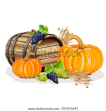 Harvest. A realistic still life with a wooden barrel, a pumpkin, grapes and ears. A vector illustration.