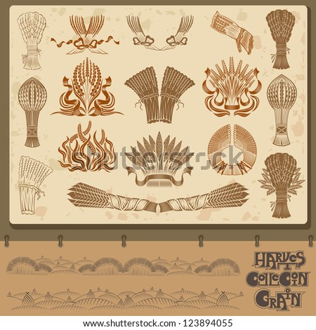 harvest grain and sheaf element collection - stock vector