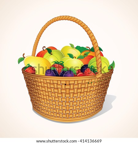 Harvest in Basket. Hamper of Fresh Organic Berries and Fruits.