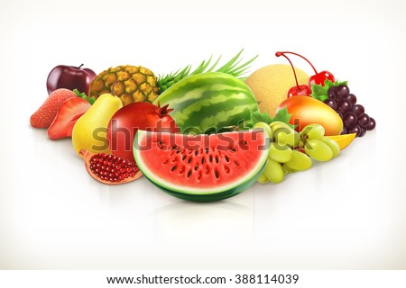 Harvest,  juicy fruit and berries vector illustration isolated on white - stock vector