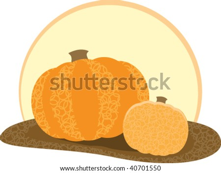 harvest moon with pumpkins - stock vector