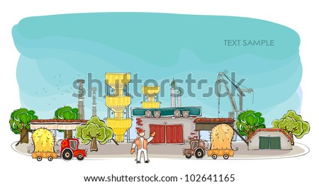 "Harvest time in the factory Happy world"" collection - stock vector"