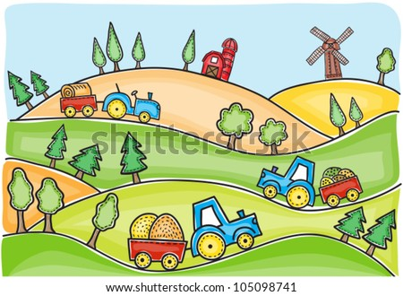 Harvest time landscape and tractors drawing - hand-drawn i�­llustration - stock vector