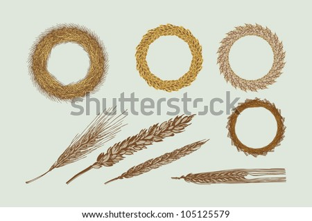Harvest Wreaths - stock vector