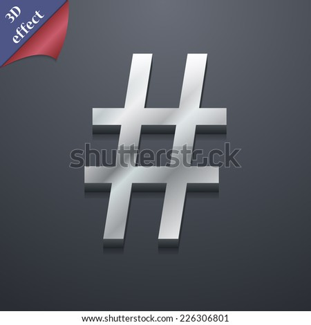 hash tag icon symbol. 3D style. Trendy, modern design with space for your text Vector illustration - stock vector