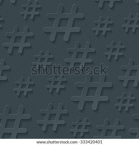 Hash tag seamless 3d pattern. Vector EPS10. - stock vector