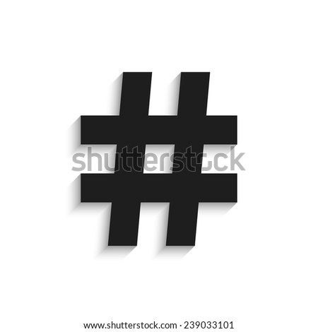 hashtag black icon with shadow isolated on white background. trendy modern vector illustration - stock vector