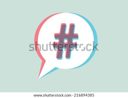 hashtag sign in speech bubble - stock vector