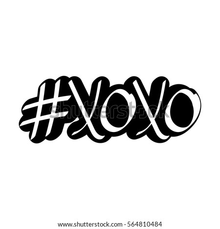 Hashtag xoxo isolated sticker hugs and kisses calligraphy design template vector illustration