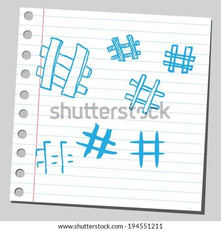 Hashtags - stock vector