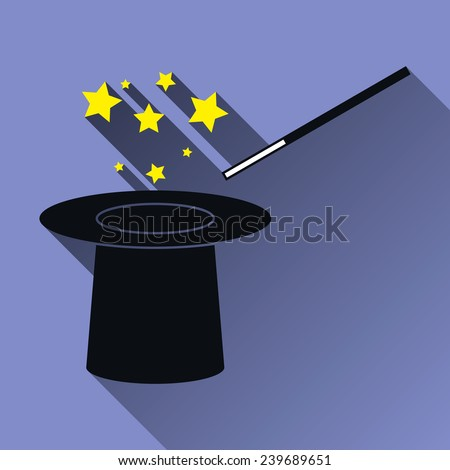 Hat and Magic Wand and Stars Icon, Long Shadow, Vector Illustration