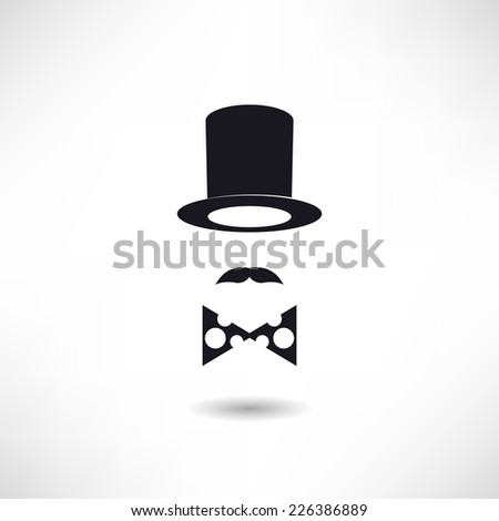 Hat and mustache icon - stock vector