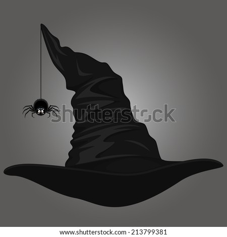 Hat and spider, vector illustration - stock vector