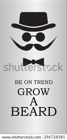 hat, beard, mustaches, round glasses and a bow tie - stock vector